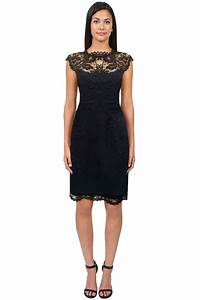 Shoshanna Lace Illusion Cap Sleeve Dress in Black | Lyst
