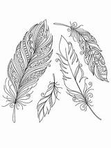 Coloring Pages Feather Printable Indian Feathers Colorful Disimpan Dari Designs Tribal sketch template