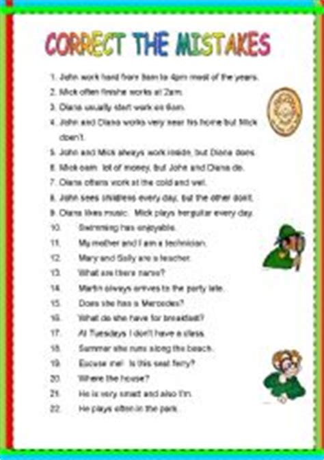 intermediate esl worksheets correct the mistakes