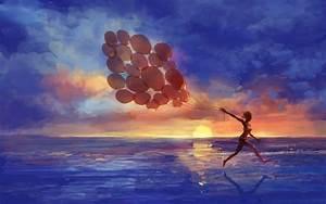 Art, Artistic, Paintings, Mood, Emotion, Happy, Fun, Run, Motion, Balloon, Seascape, Beaches