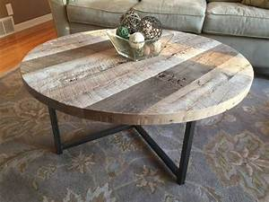 buy a hand made round reclaimed wood table with metal base With handmade round coffee table