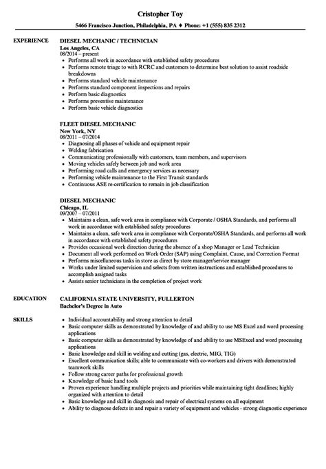 diesel mechanic resume sles velvet