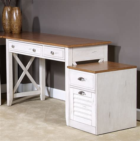 isle writing desk in bisque with pine finish