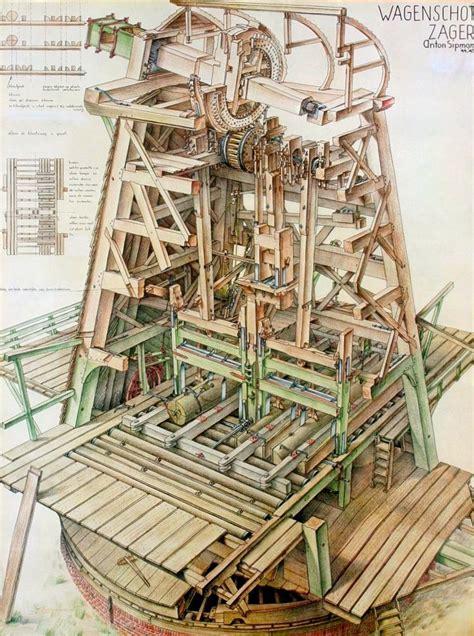 dutch wind sawmill windmill windmill drawing
