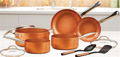 copper chef pan cookware set  piece  kitchen home  stick coating  ebay