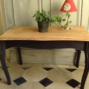 Table Basse Style Louis XV Patine Noire Plateau En Bois