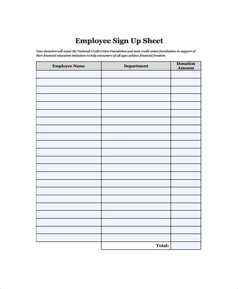 sample employee sign  sheet   documents
