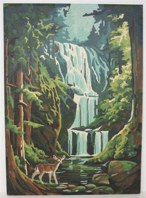 water fall paint by number painting by findingmainevintage 22 00 vintage