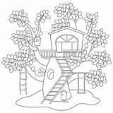 Coloring Tree Colorear Treehouse Arboles Casas Cartoon Dibujos Animal Imagenes sketch template