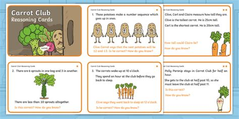 * New * Carrot Club Year 1 Reasoning Differentiated Challenge Cards