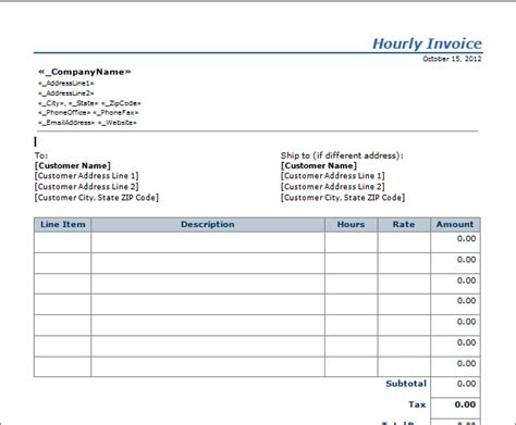 invoice template hours worked invoice