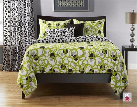 Total Fab Lime Green Black And White Bedding