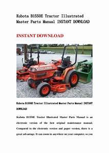 Kubota B1550 E Tractor Illustrated Master Parts Manual