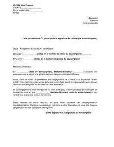 Résiliation Contrat Assurance Vie by Lettre D Acceptation De La Clause B 233 N 233 Ficiaire D Un