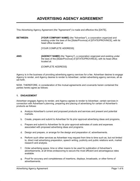 advertising agency agreement template sample form