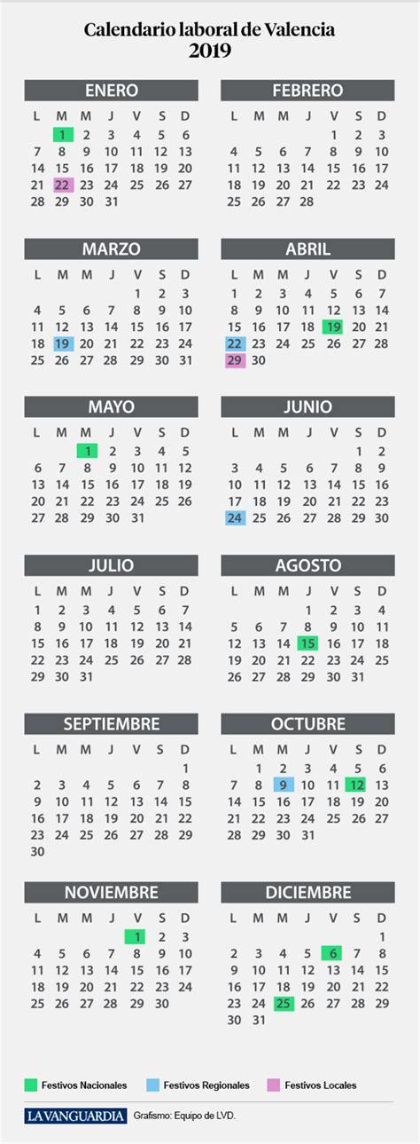 calendario laboral valencia vacaciones festivos puentes