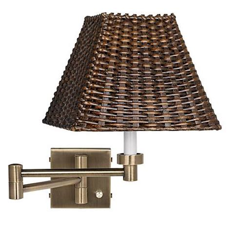 brass with wicker shade plug in swing arm wall l 37857 u1248 ls plus