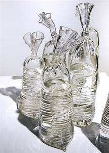 these water filled plastic bag sculptures are made With glass sculptures by dylan martinez