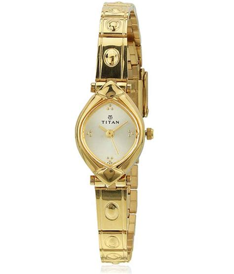 titan analog gold plated chain watch for mens 1639ym03