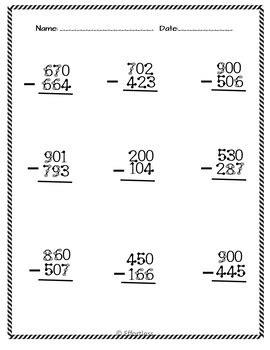 subtraction across zeros worksheet worksheets for all