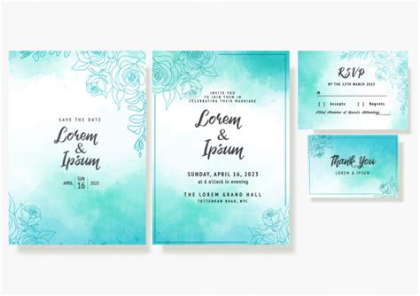 Wedding floral invitation card save the date rsvp