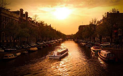 canal cruise amsterdam european landscape wallpaper