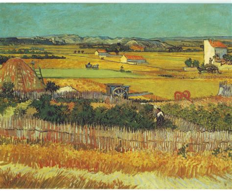 vincent gogh artwork harvest at la crau with montmajour in the background by