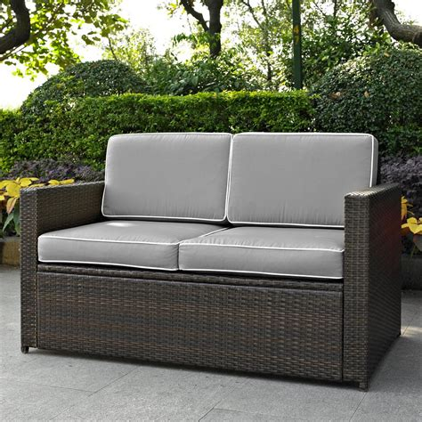 Outdoor Wicker Loveseat palm harbor outdoor wicker loveseat in brown with grey