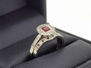 his hers matching vintage ruby engagement ring set With vintage engagement ring and wedding band