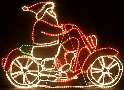 Motorcycle Santa Christmas Lights Riding Rope Led