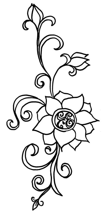 Lotus Flower Drawings for Tattoos | Lotus flower tattoo stencils | Vine drawing, Henna flower