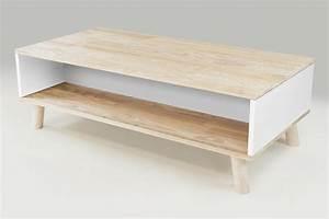Table Basse Bois Scandinave : table basse scandinave rectangulaire viking bois naturel et blanc ~ Teatrodelosmanantiales.com Idées de Décoration