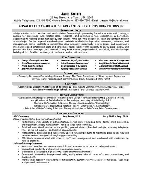 Hairdressing Resumes by Beautician Cosmetologist Resume Exle Resume Resume