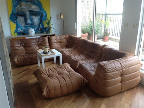 sofá togo original vintage original leather togo ligne roset 2x2seater