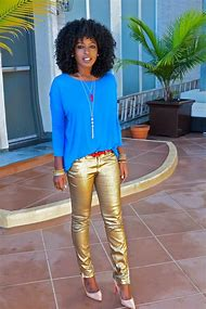 Gold Metallic Skinny Jeans
