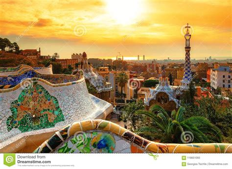 View Of The City From Park Guell In Barcelona. Editorial ...