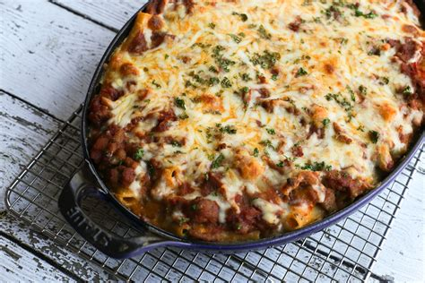 what to make with ground hamburger meaty baked ziti recipe with ground beef and sausage