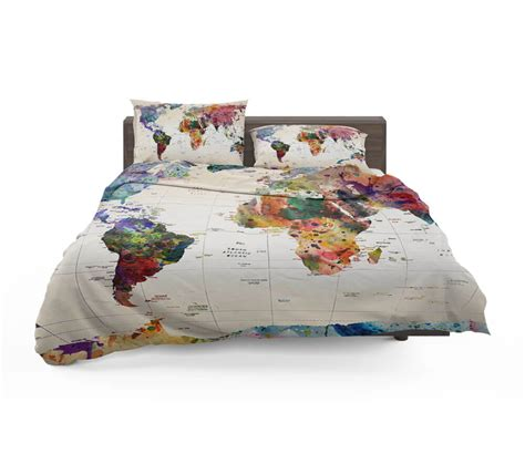 watercolor world map with place names bedding set travel bible shop
