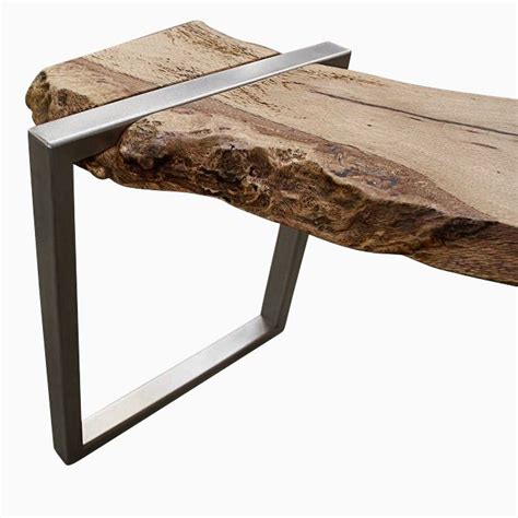 Buy a Hand Made Live Edge Oak Slab And Stainless Steel Bench, made to order from Anand Gowda