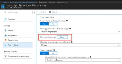create exceptions   intune mobile application