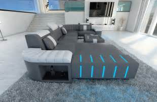 sofa weiss grau big sectional leather sofa bellagio u with led lighting colour selection ebay