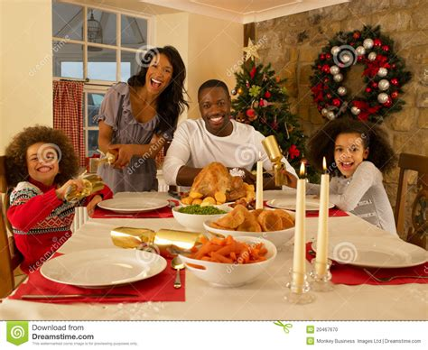 family  christmas dinner stock photo image