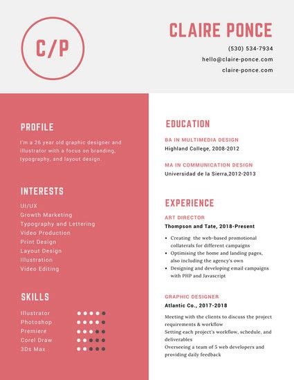 Resume Layout Design by Customize 563 Graphic Design Resume Templates Canva
