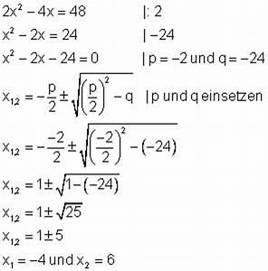 Schnittpunkt Zweier Parabeln Berechnen : quadratische gleichungen l sen mit pq formel oder quadratischer erg nzung ~ Themetempest.com Abrechnung
