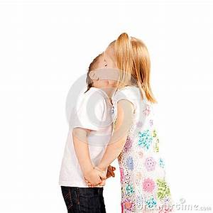 Couple Of Kids, Boy And Girl Holding Hands And Kissing ...