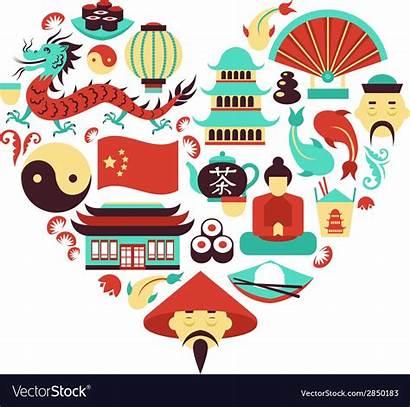 China Symbols Heart Vector Royalty Vectorstock Vectors
