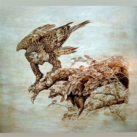 japanese art  burning wood wood burning eagle