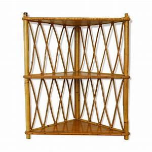 Etagere D Angle En Bois : etagere d 39 angle en bois et rotin mes petites puces ~ Dailycaller-alerts.com Idées de Décoration