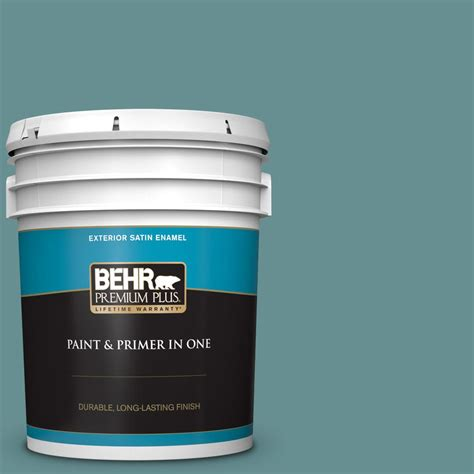 behr premium plus 5 gal 500f 6 hallowed hush satin enamel exterior paint and primer in one