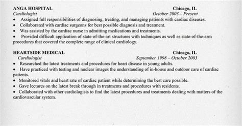 cardiologist resume sle http resumecompanion